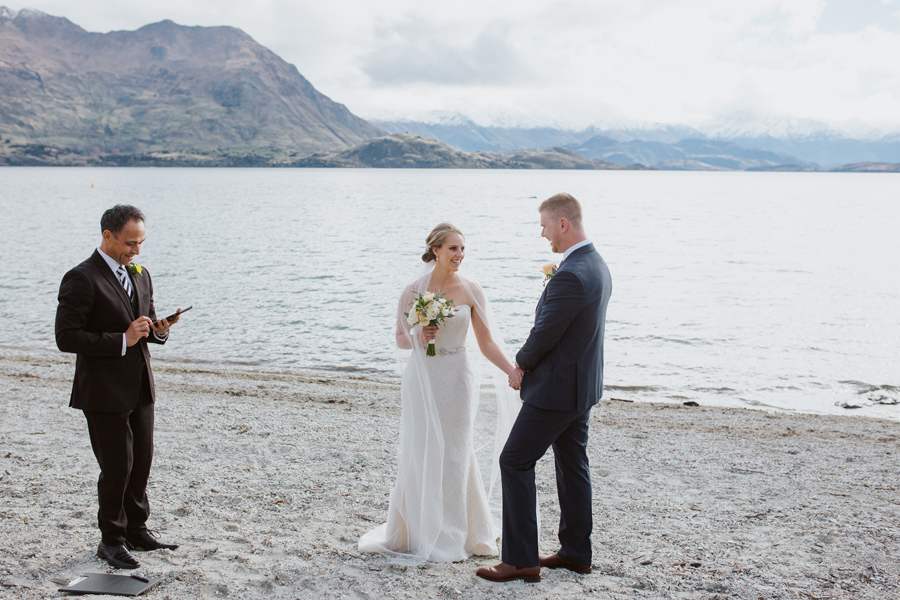 The gorgeous bride and groom at their lakeside weddng ceremony of Lake Wanaka