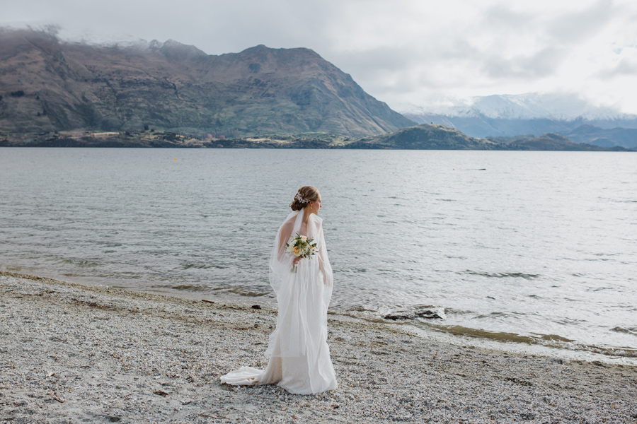 Melissa looking stunning after her Lake Wanaka Wedding Ceremony, with photography by Alpine Image Company